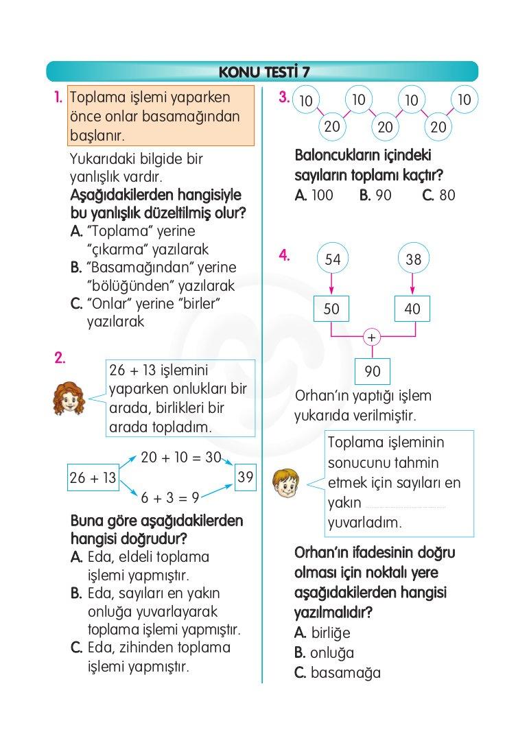 2. Sınıflara Çıkarma Etkinlik ve Test Yaprakları