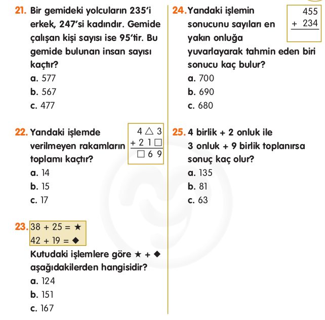 Toplama İşlemi Problemleri 3. Sınıf