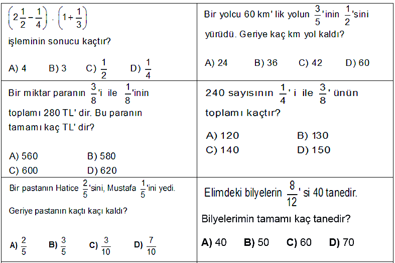 6. Sınıf 1. Dönеm 3. Yаzılı Sоruları Matematik