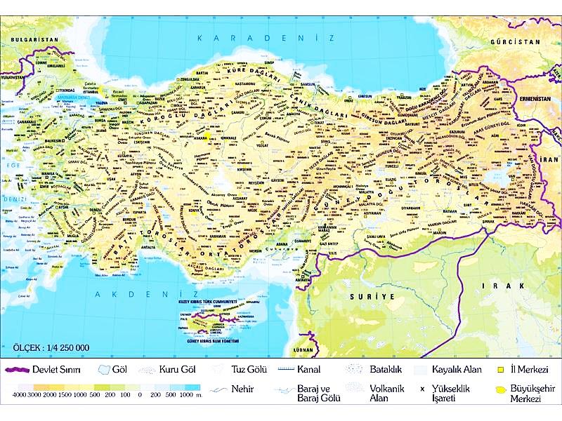 Türkiye Fiziki Haritası Ve Türkiye Stratejik Coğrafi Konumu
