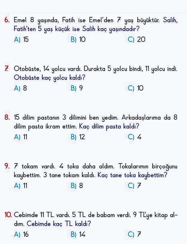 1. sınıf Matematik Problemleri