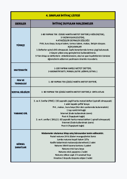 4. Sınıf İhtiyaç Listesi