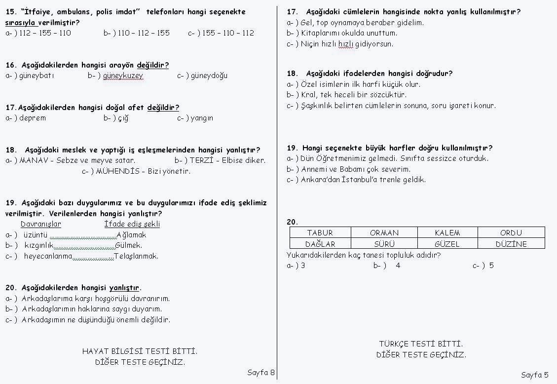 3.Sınıf Deneme Sınavı