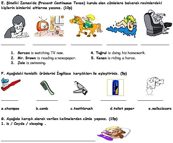 6. Sınıf İngilizce 1. Dönem 2. Yazılı